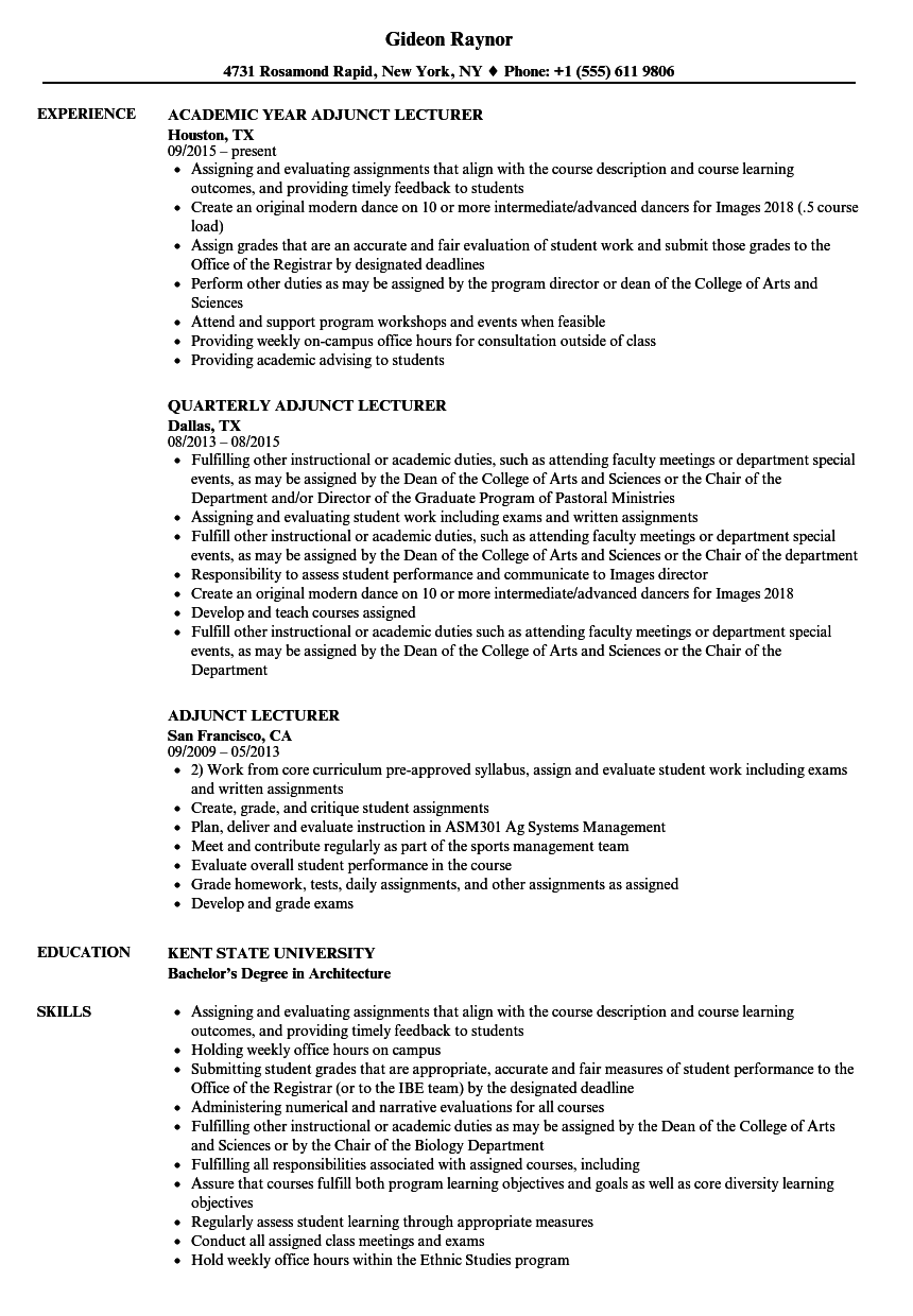 Adjunct Lecturer Resume Samples | Velvet Jobs