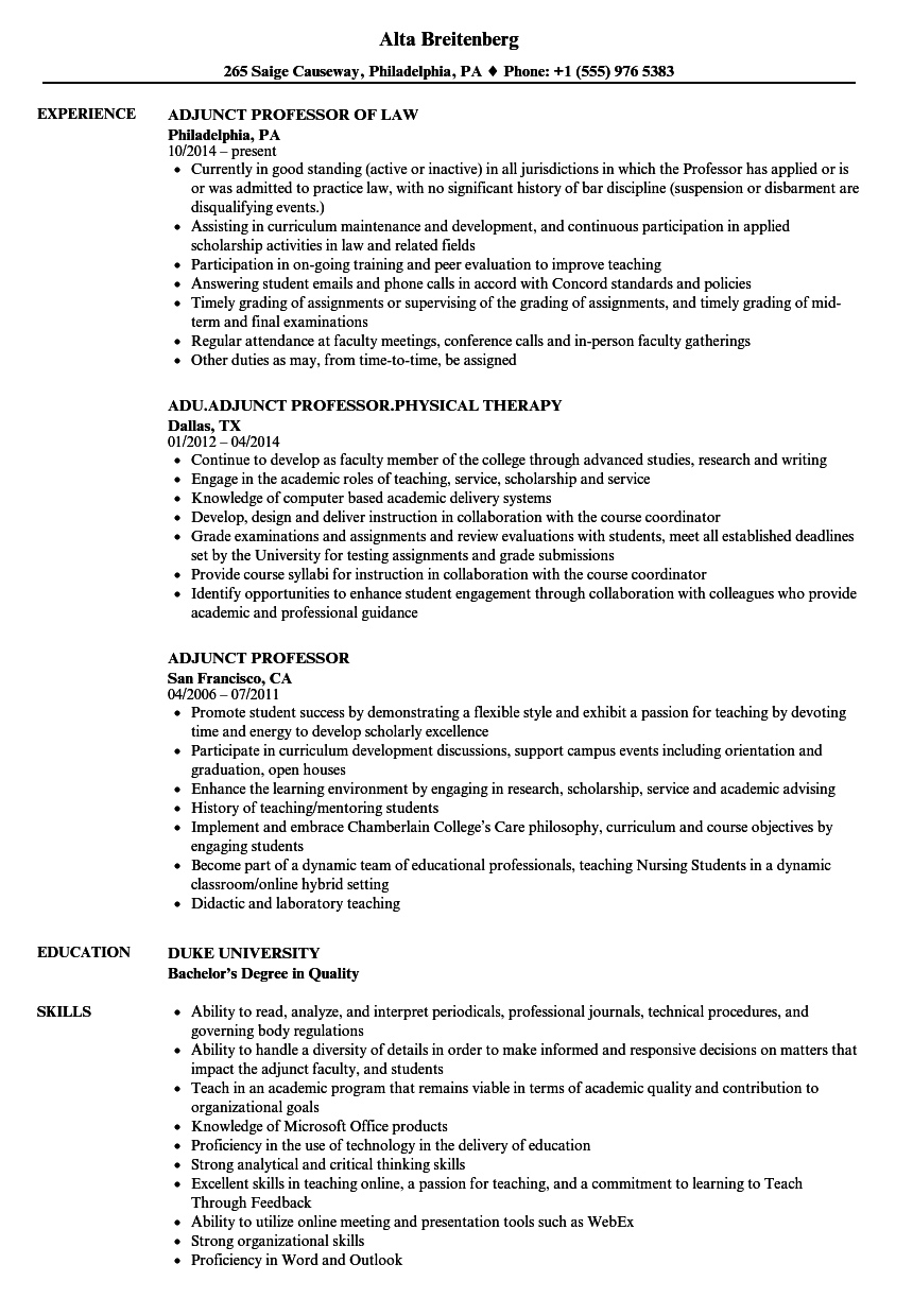 adjunct professor resume samples velvet jobs