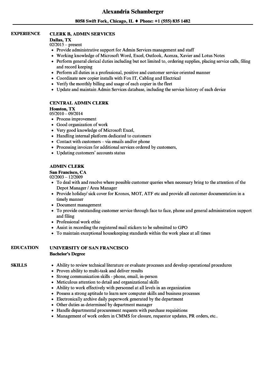 Related Job Titles Department Clerk Resume Sample