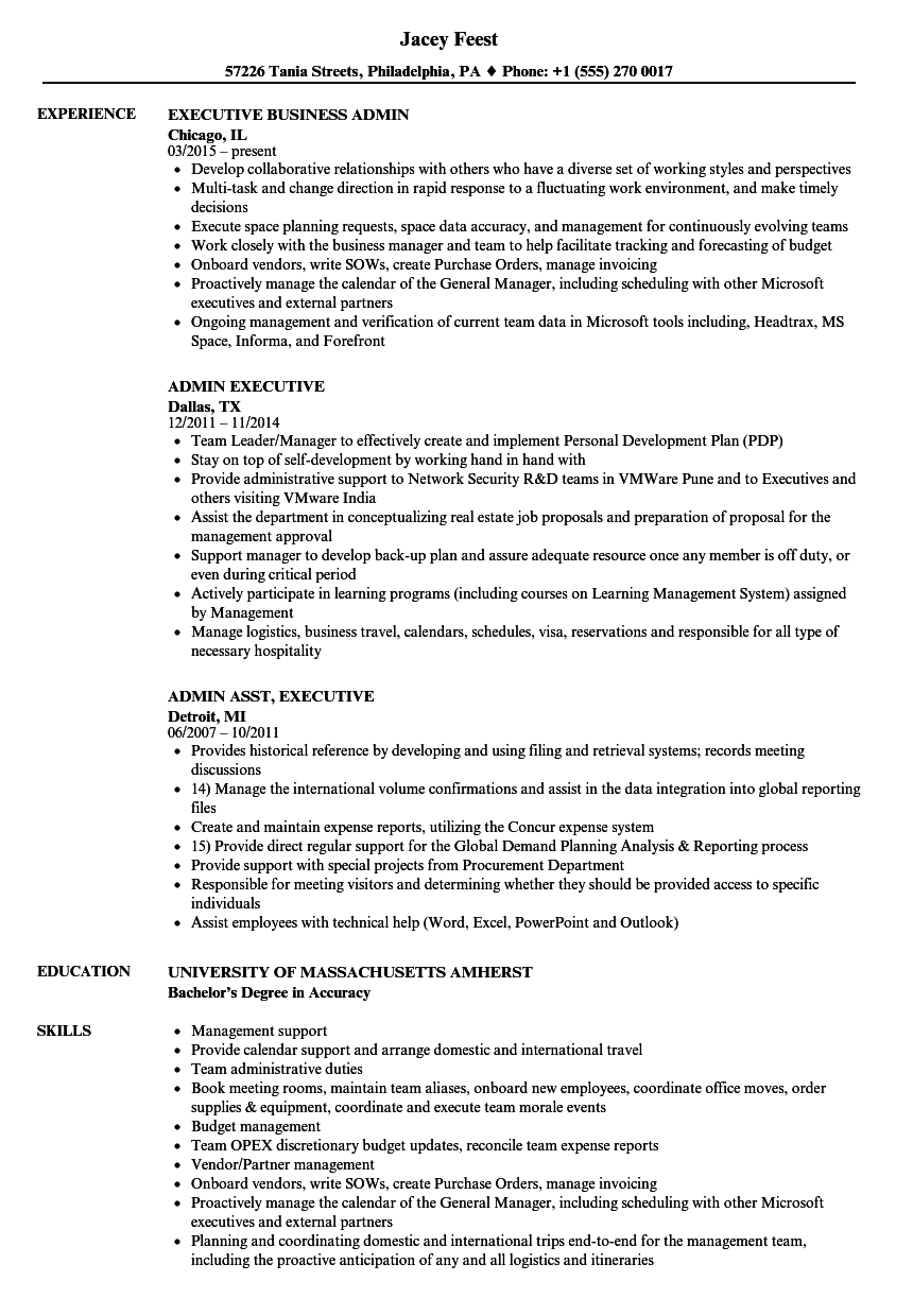 Admin Executive Resume Samples Velvet Jobs