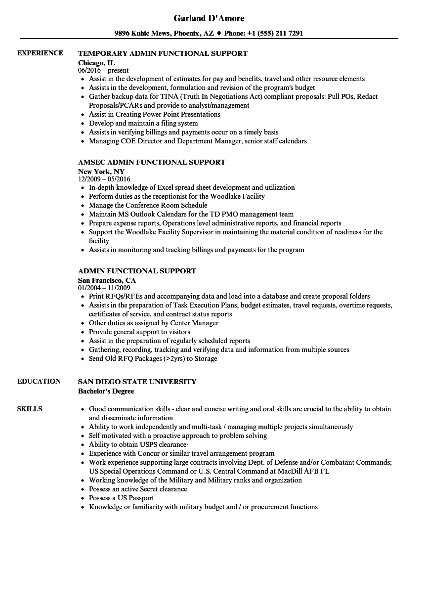 Admin Functional Support Resume Samples | Velvet Jobs