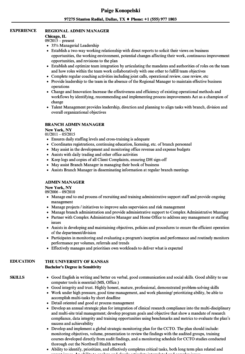 admin manager resume samples velvet jobs