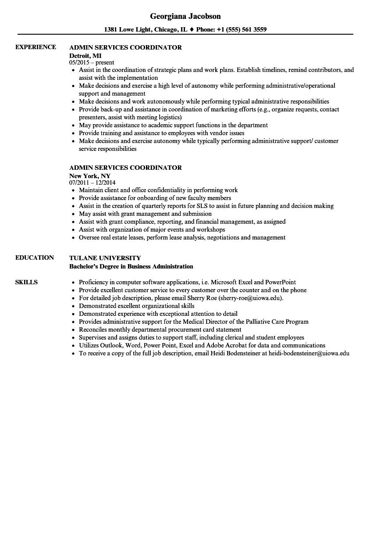 admin services coordinator resume samples