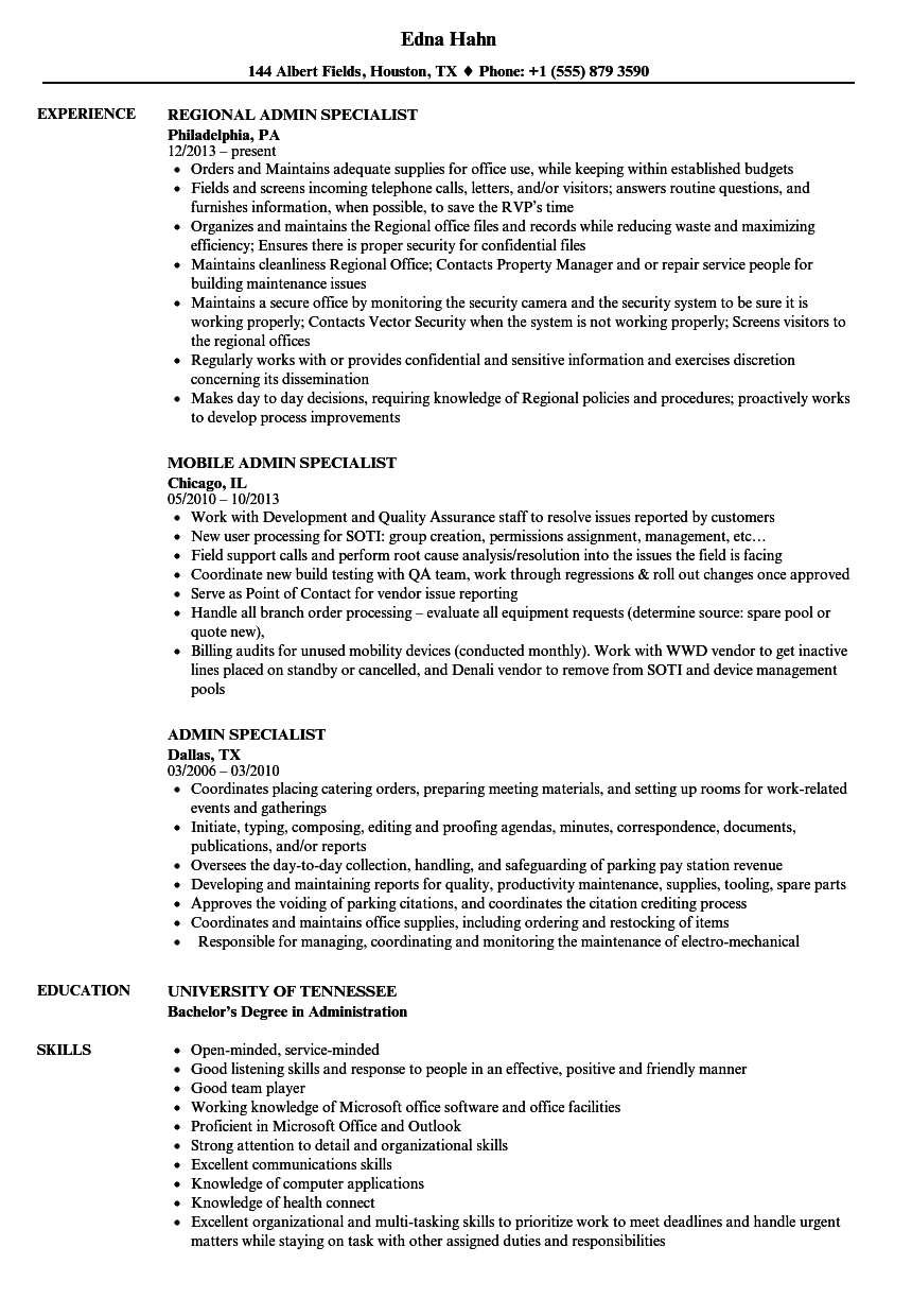 admin specialist resume samples