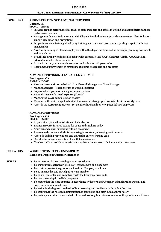 admin supervisor resume samples