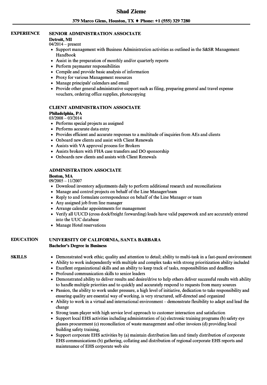 Administration Associate Resume Samples | Velvet Jobs