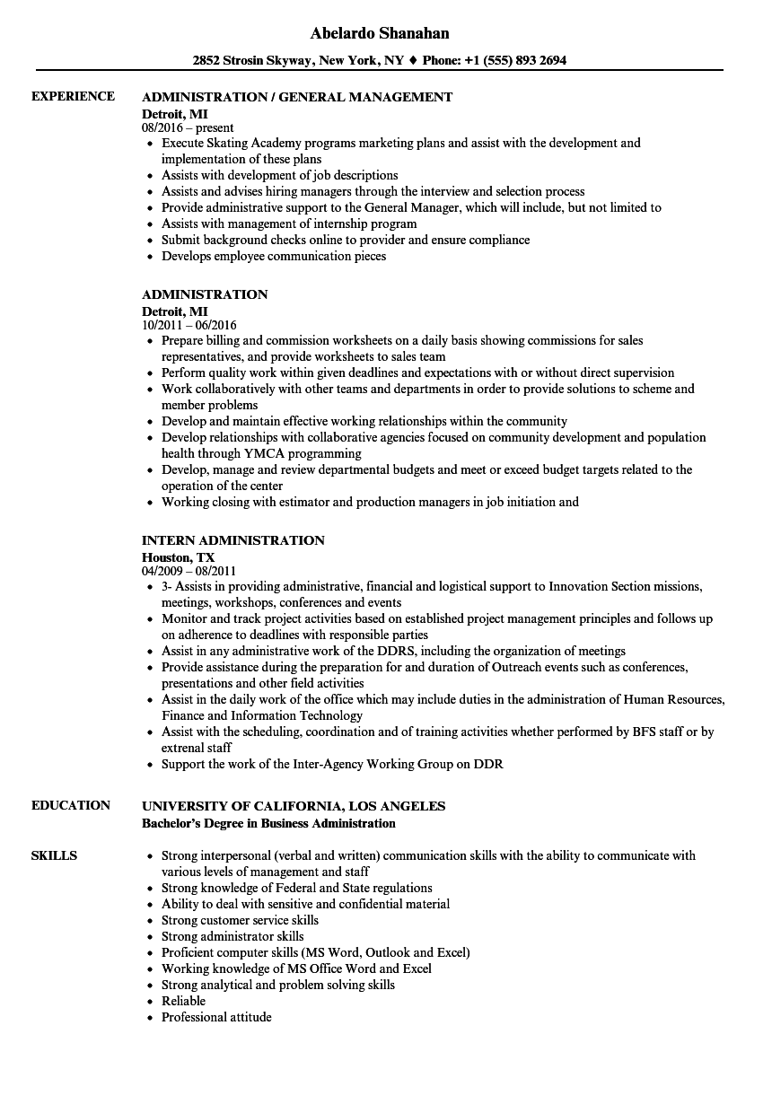 Administration Resume Samples | Velvet Jobs
