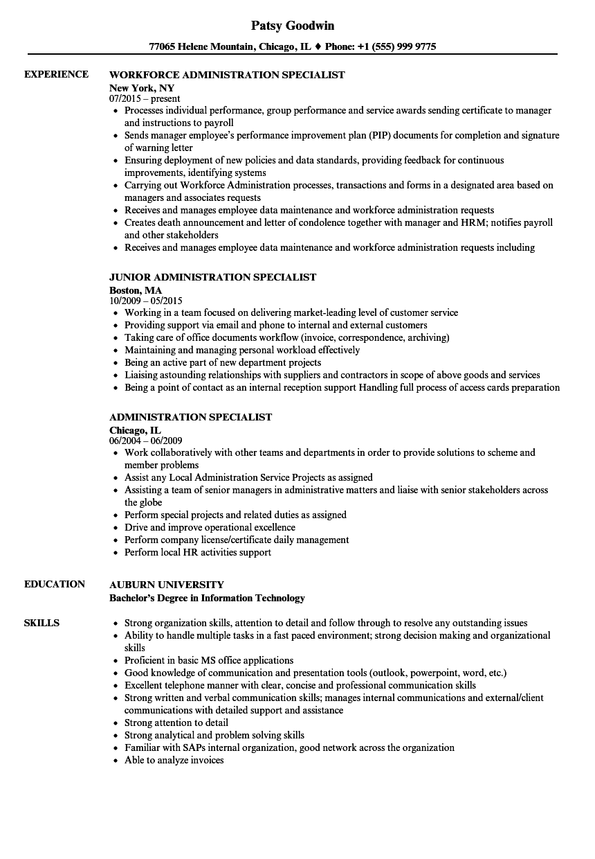 Administration Specialist Resume Samples Velvet Jobs