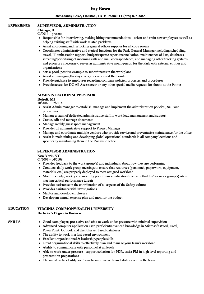 Download Administration Supervisor Resume Sample As Image File  Supervisor Resume