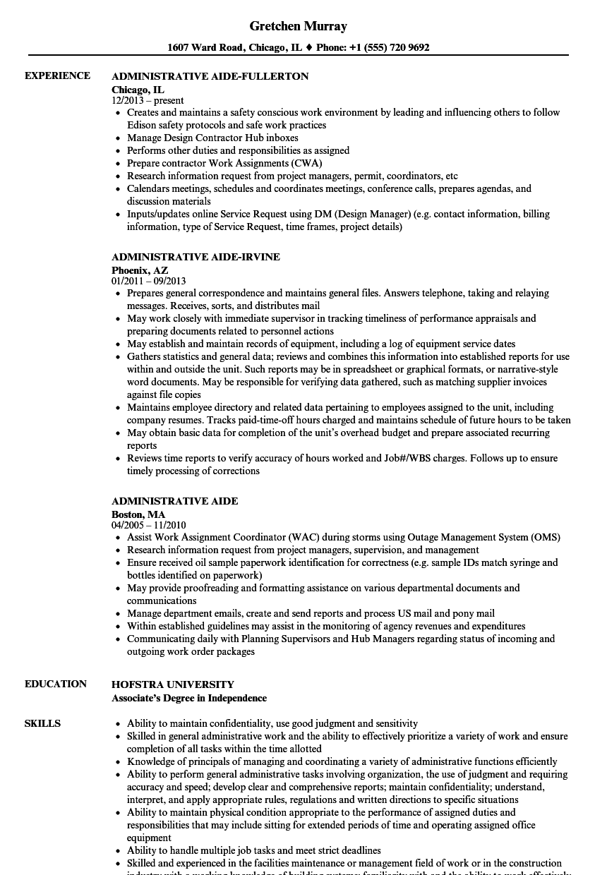 Administrative Aide Resume Samples Velvet Jobs