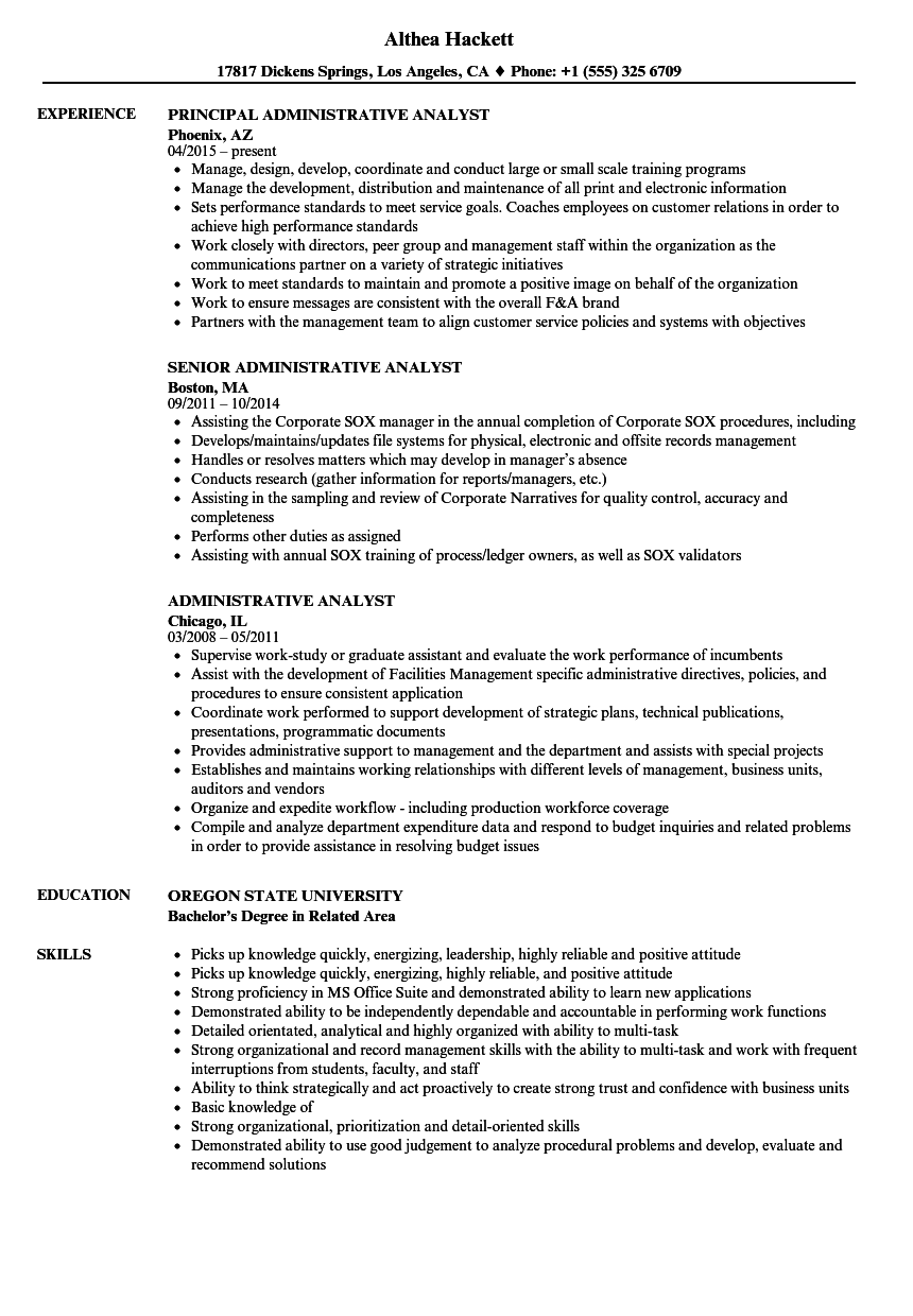 administrative analyst resume samples