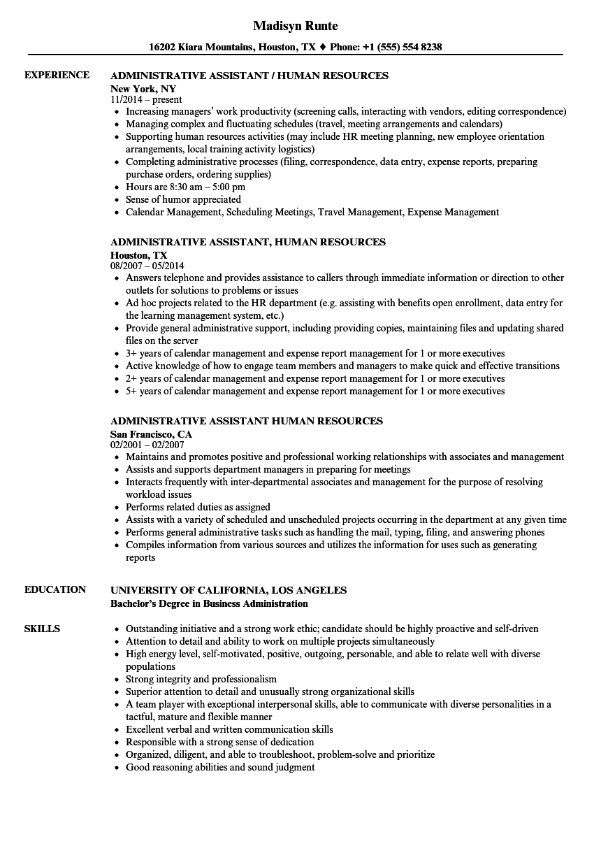 Administrative Assistant, Human Resources Resume Samples | Velvet Jobs