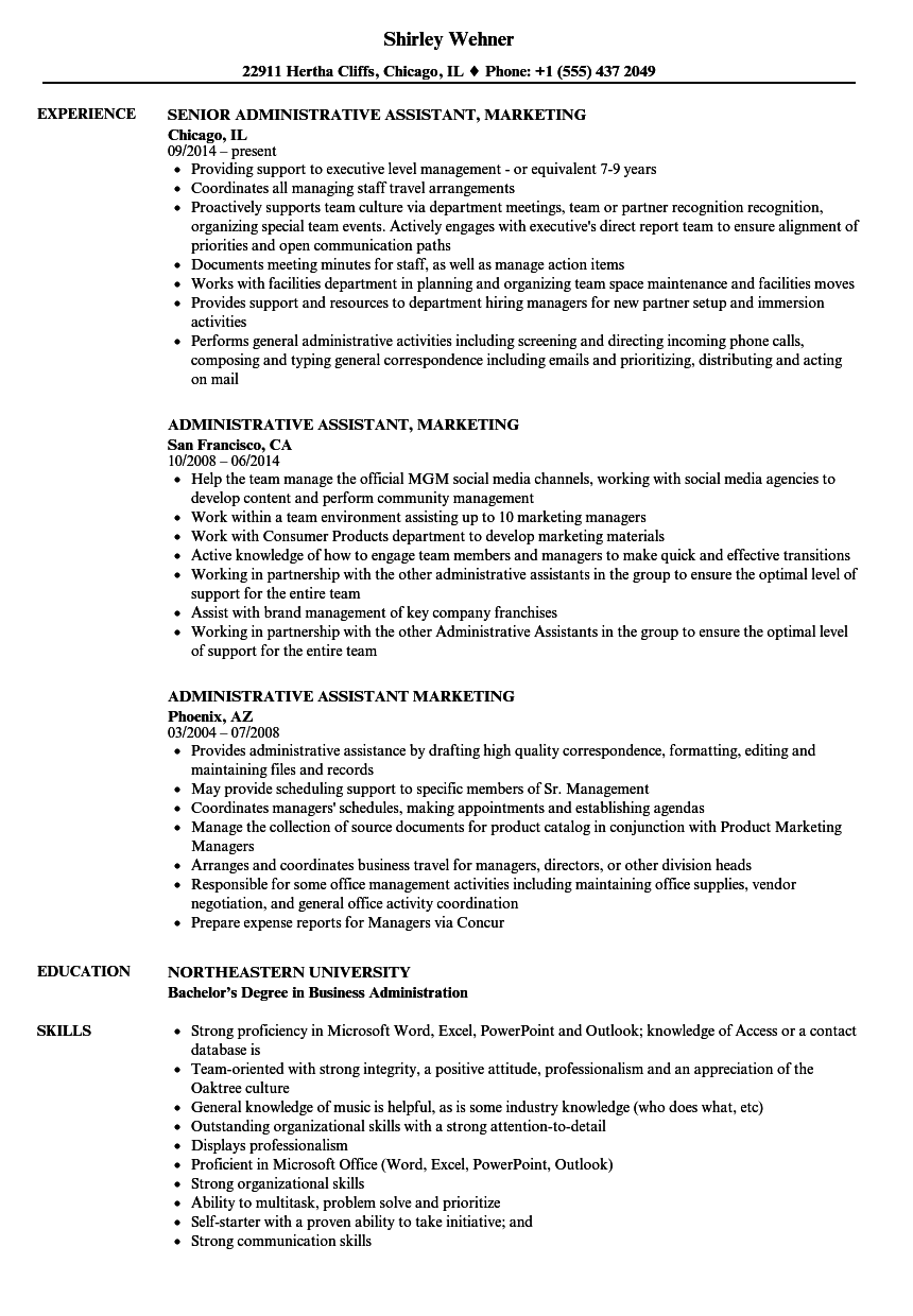 Administrative Assistant Marketing Resume Samples Velvet Jobs