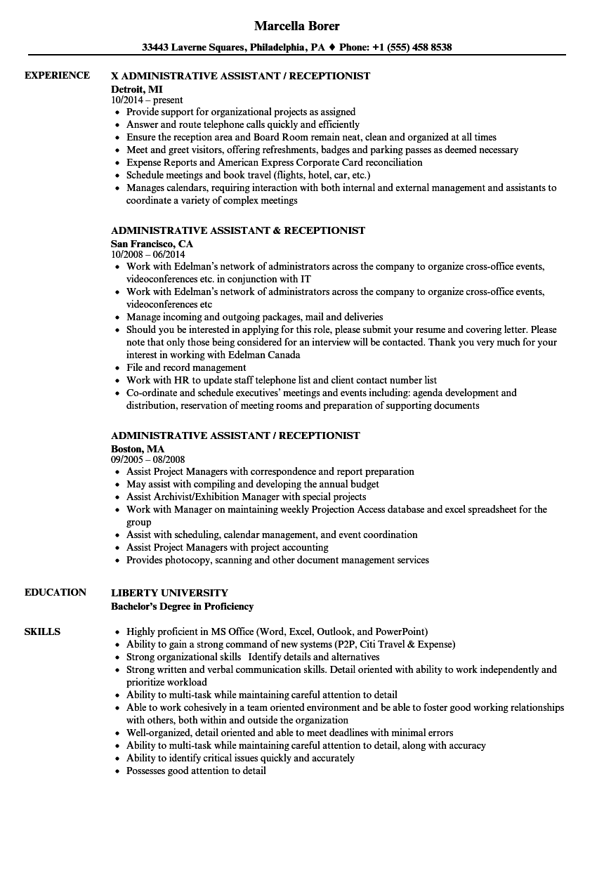 Administrative Assistant  Receptionist Resume Samples  Velvet Jobs