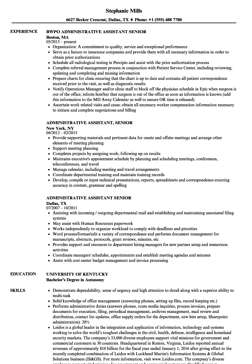 administrative assistant senior resume samples velvet jobs