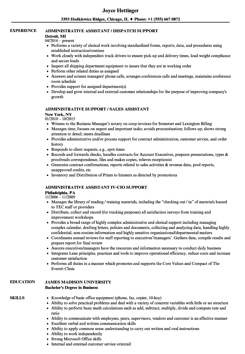 download administrative assistant support resume sample as image file - Administrative Support Resume Samples