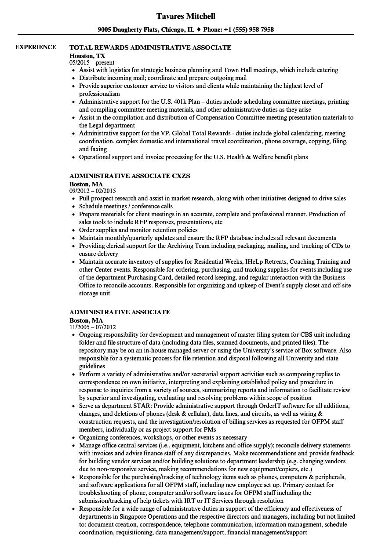 Administrative Associate Resume Samples | Velvet Jobs