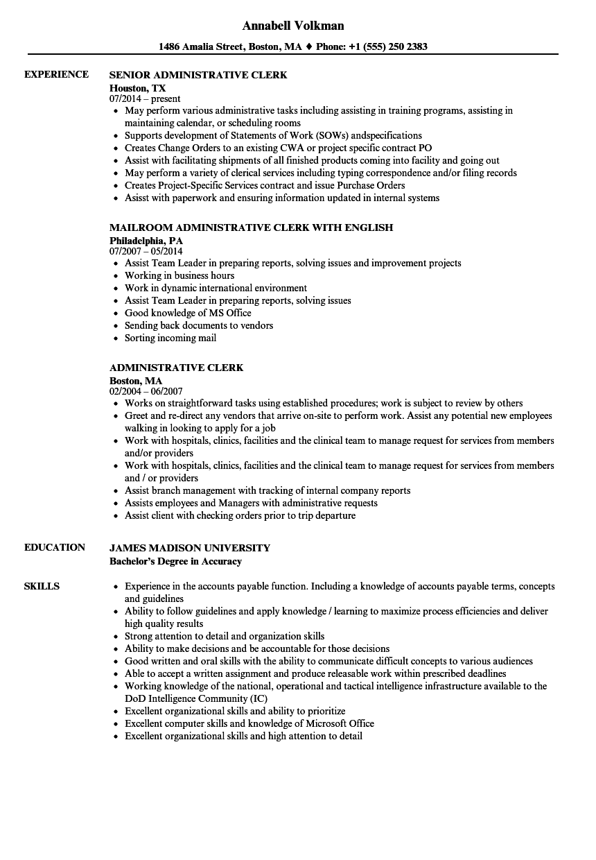 Administrative Clerk Resume Samples | Velvet Jobs