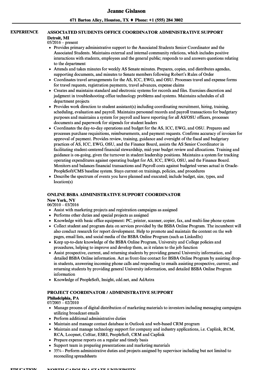 Download Administrative Coordinator Administrative Support Coordinator  Resume Sample As Image File  Administrative Coordinator Resume