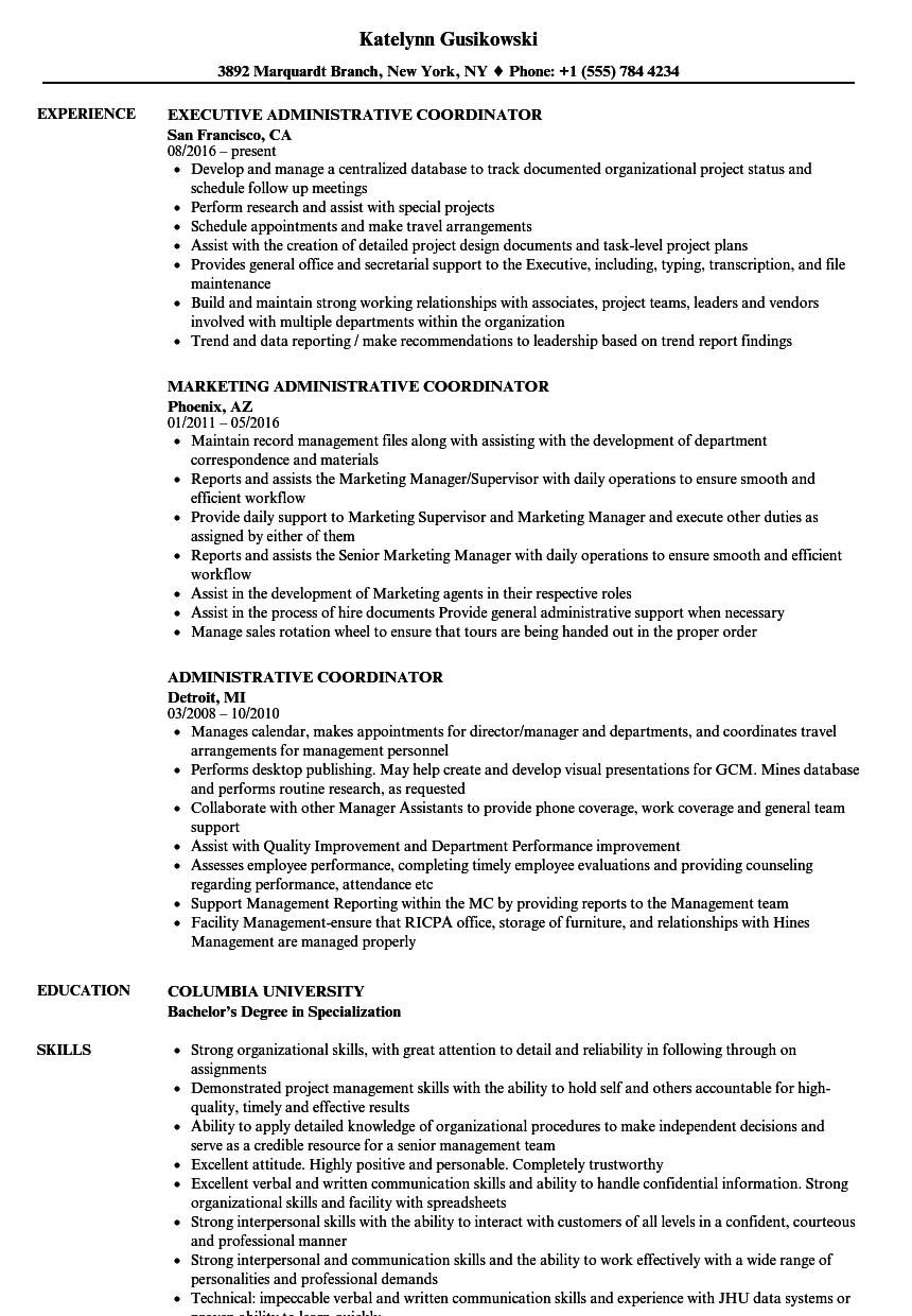 Administrative Coordinator Resume Samples | Velvet Jobs