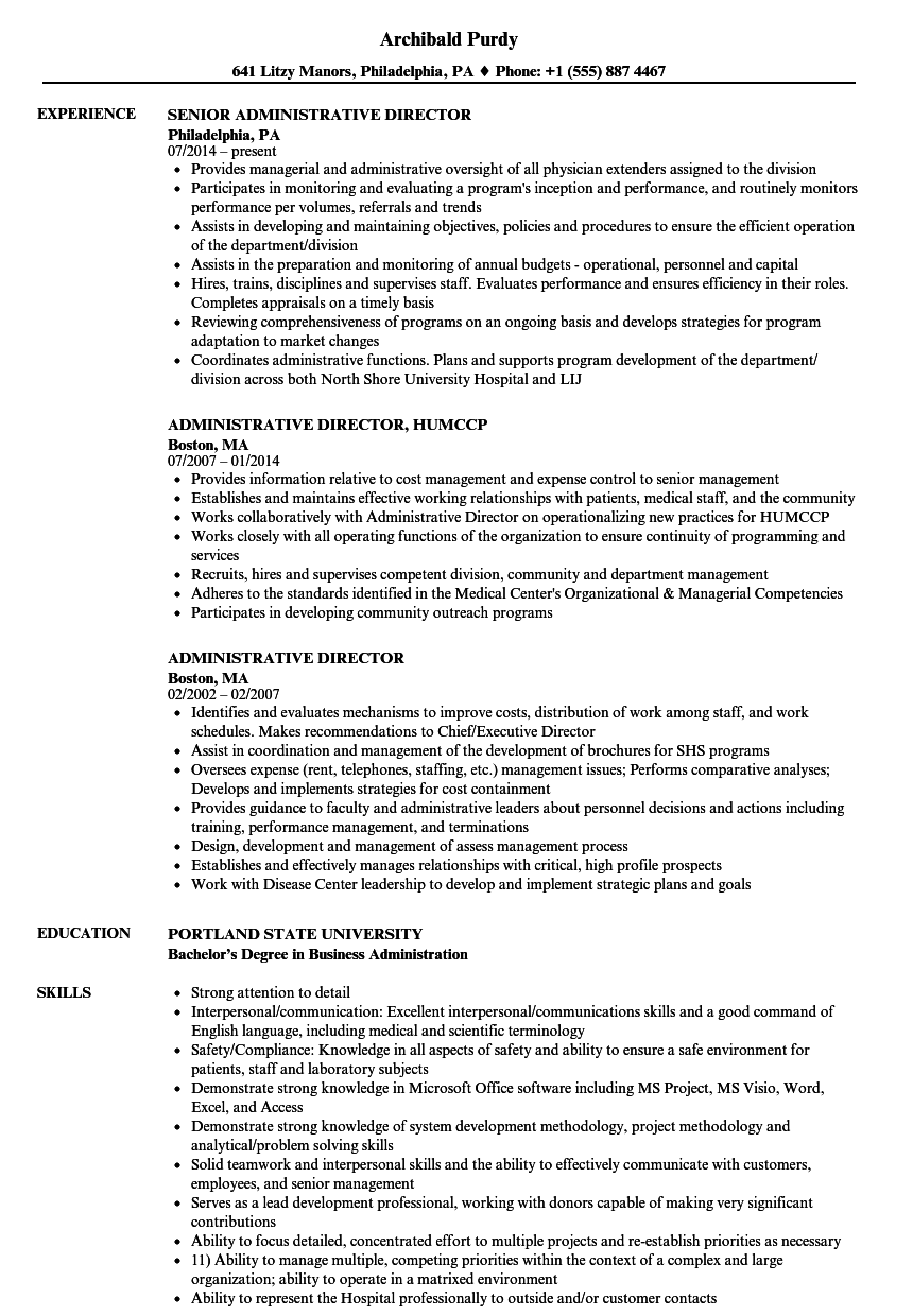 administrative director resume samples