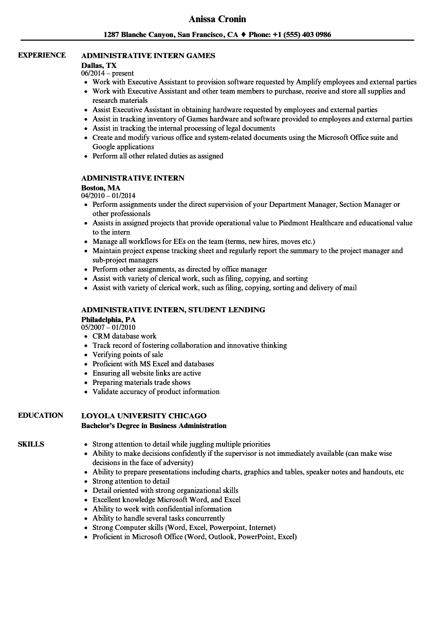 Administrative Intern Resume Samples | Velvet Jobs
