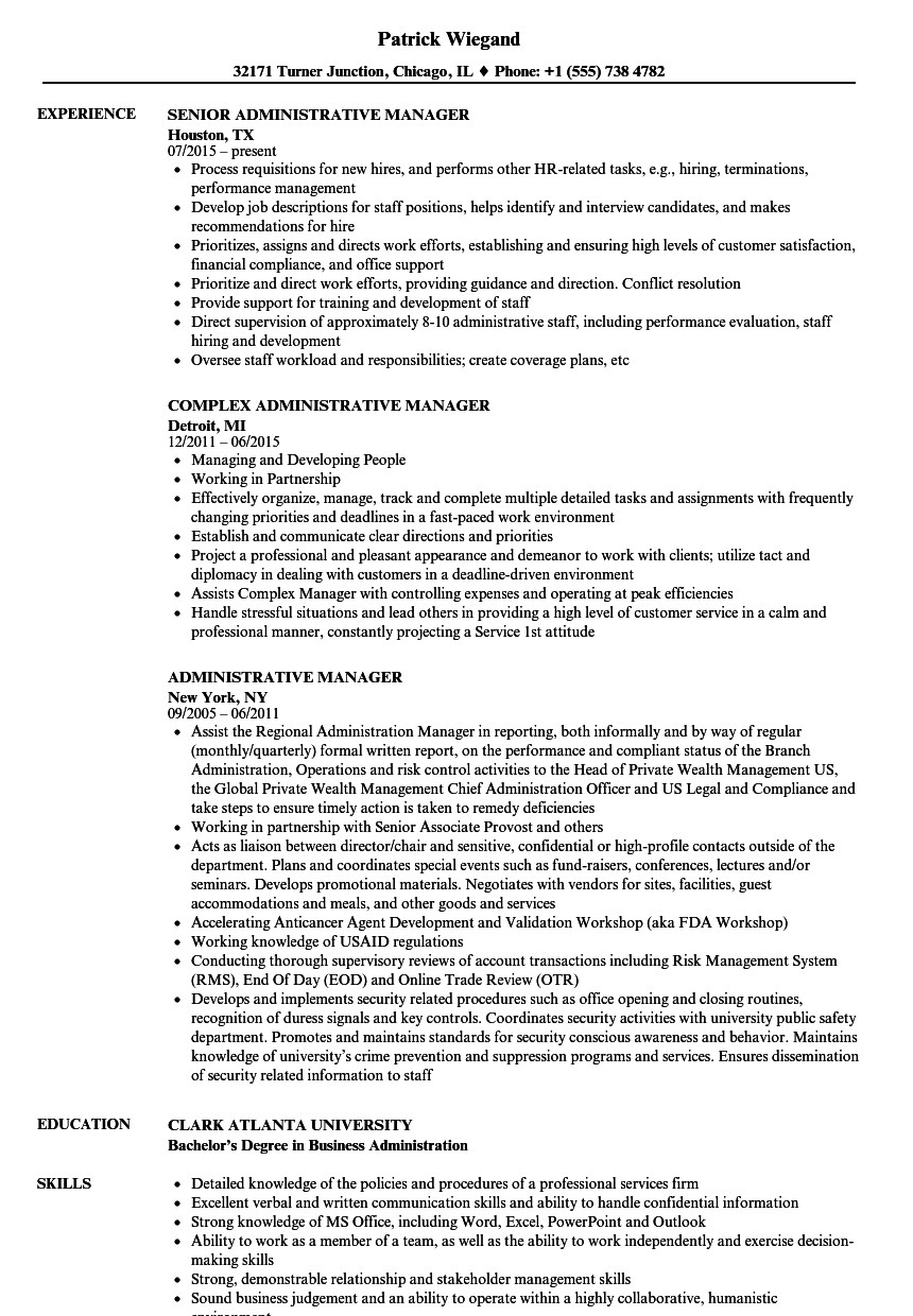 Administrative Manager Resume Samples | Velvet Jobs