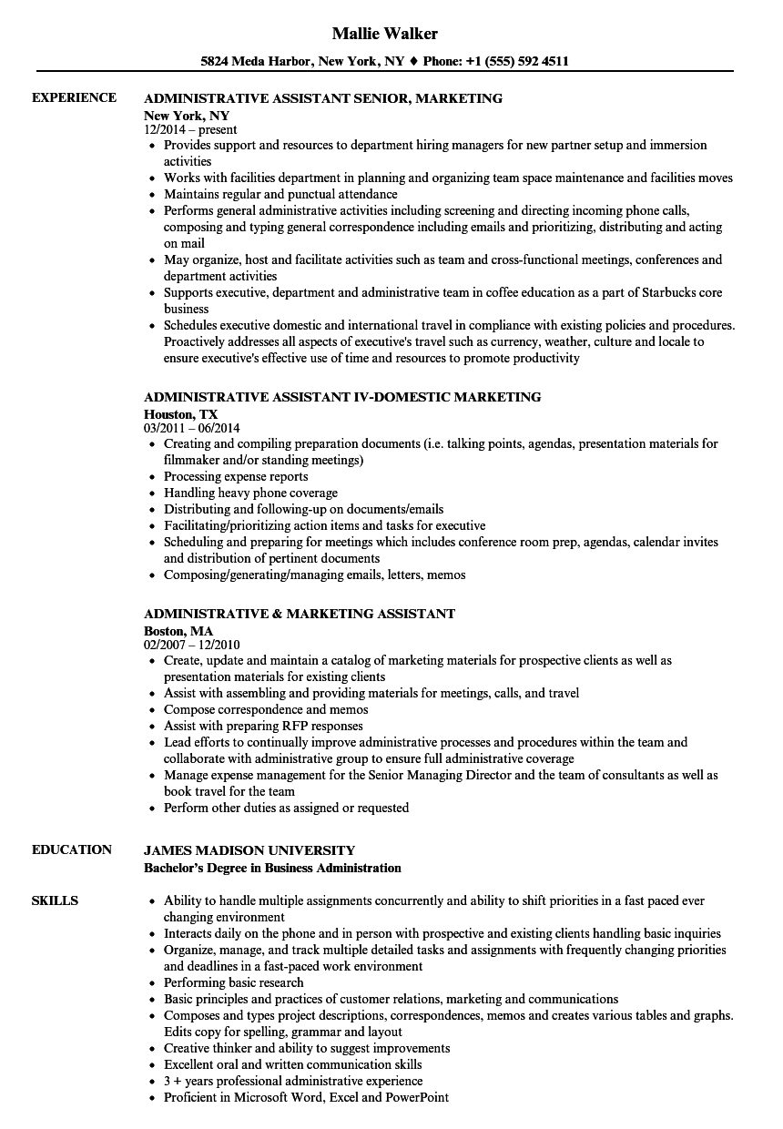 administrative marketing assistant resume samples velvet jobs