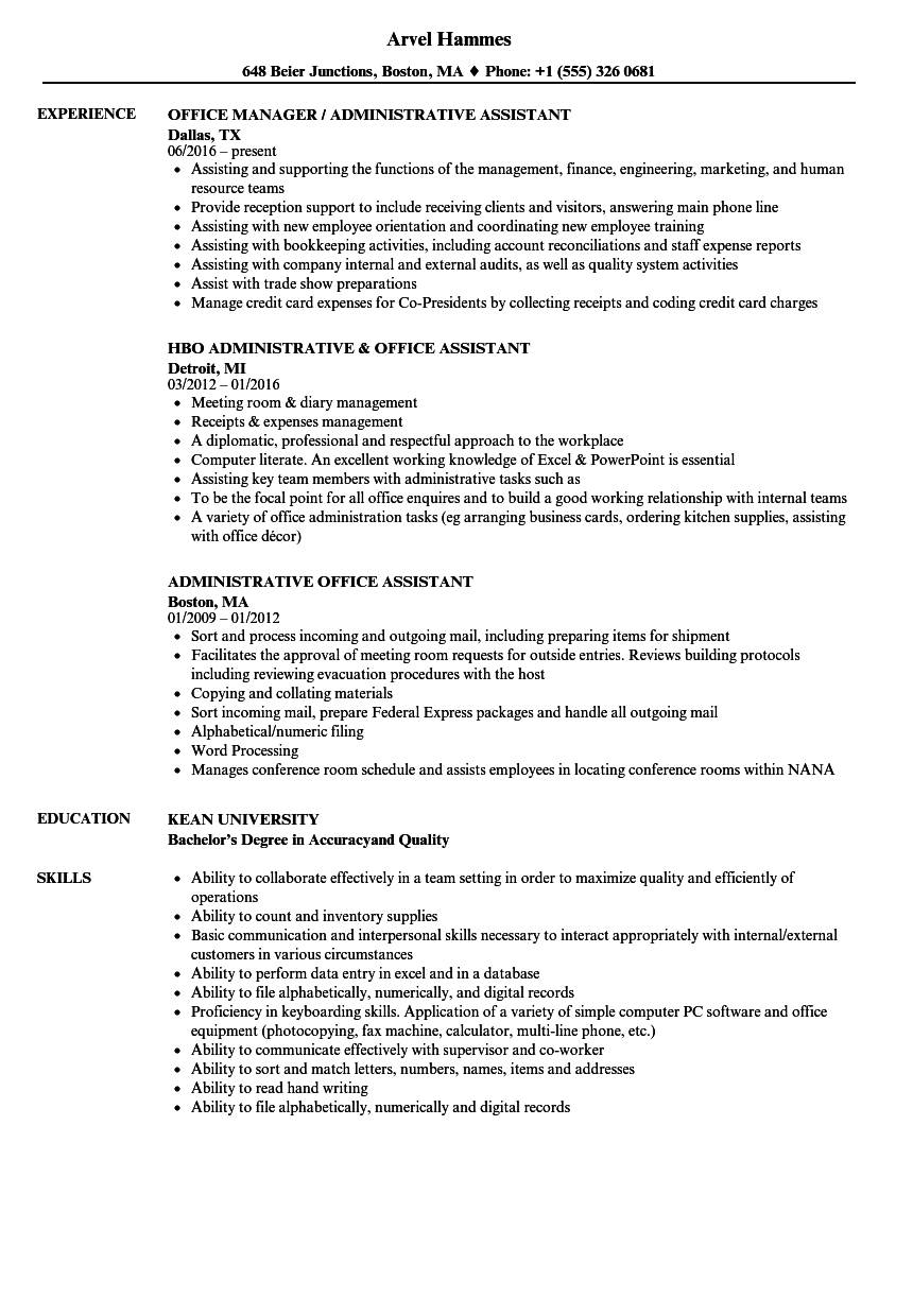 download administrative office assistant resume sample as image file - Office Assistant Resume Sample