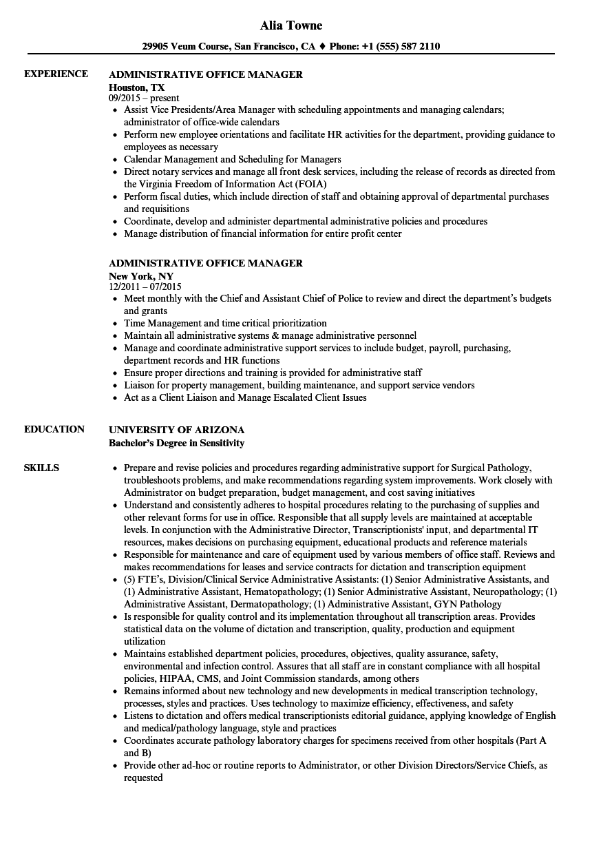 Administrative Office Manager Resume Samples   Velvet Jobs