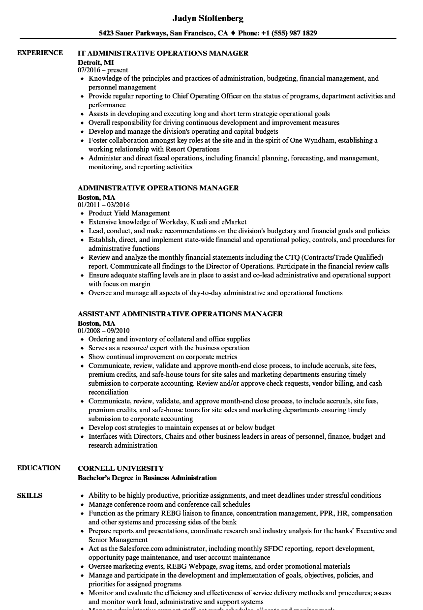 administrative operations manager resume samples velvet jobs