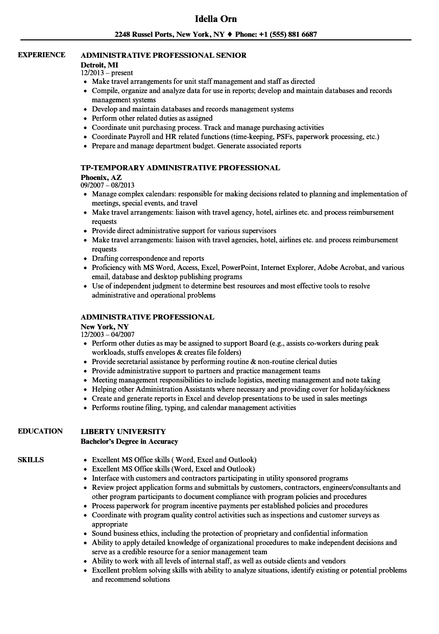 administrative professional resume samples