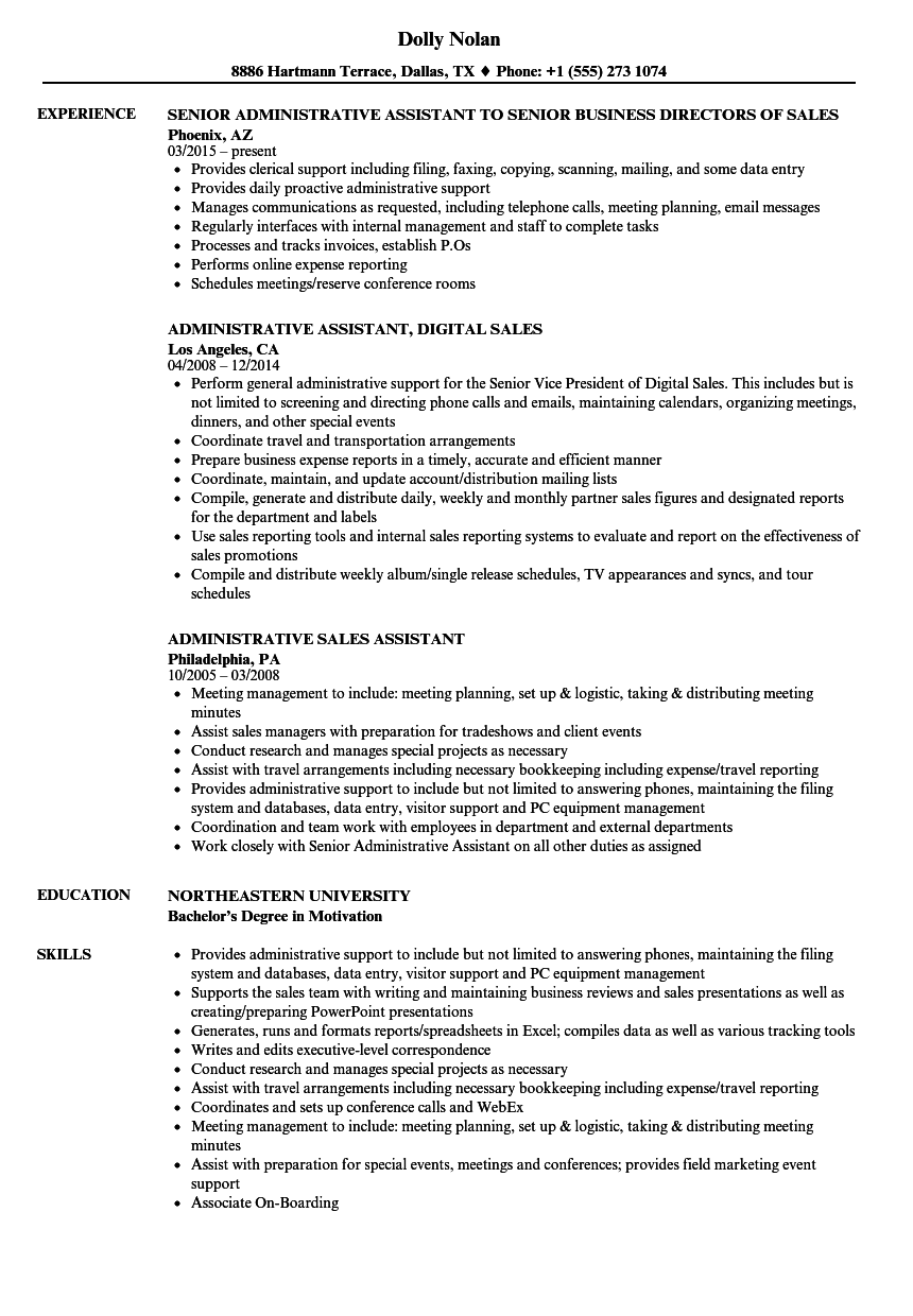 Administrative Sales Assistant Resume Samples | Velvet Jobs