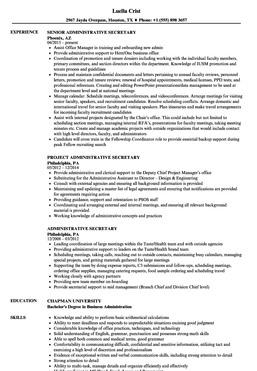 Administrative Secretary Resume Samples | Velvet Jobs