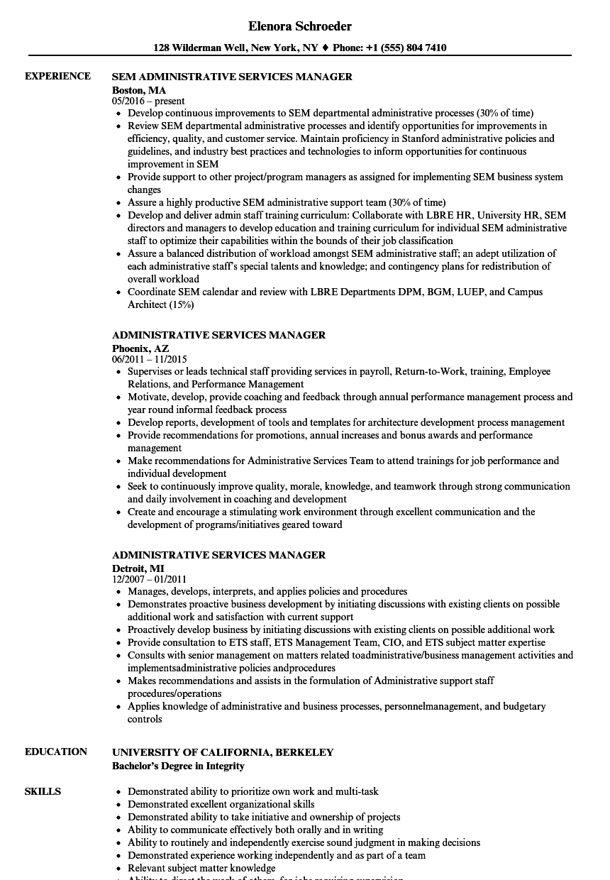 Administrative Services Manager Resume Samples Velvet Jobs