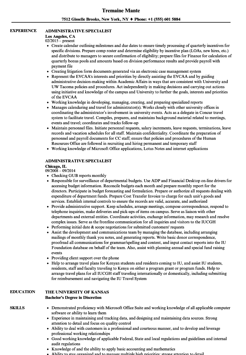 Administrative Specialist Resume Samples | Velvet Jobs