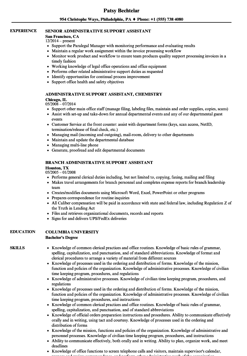 Administrative Support Assistant Resume Samples Velvet Jobs