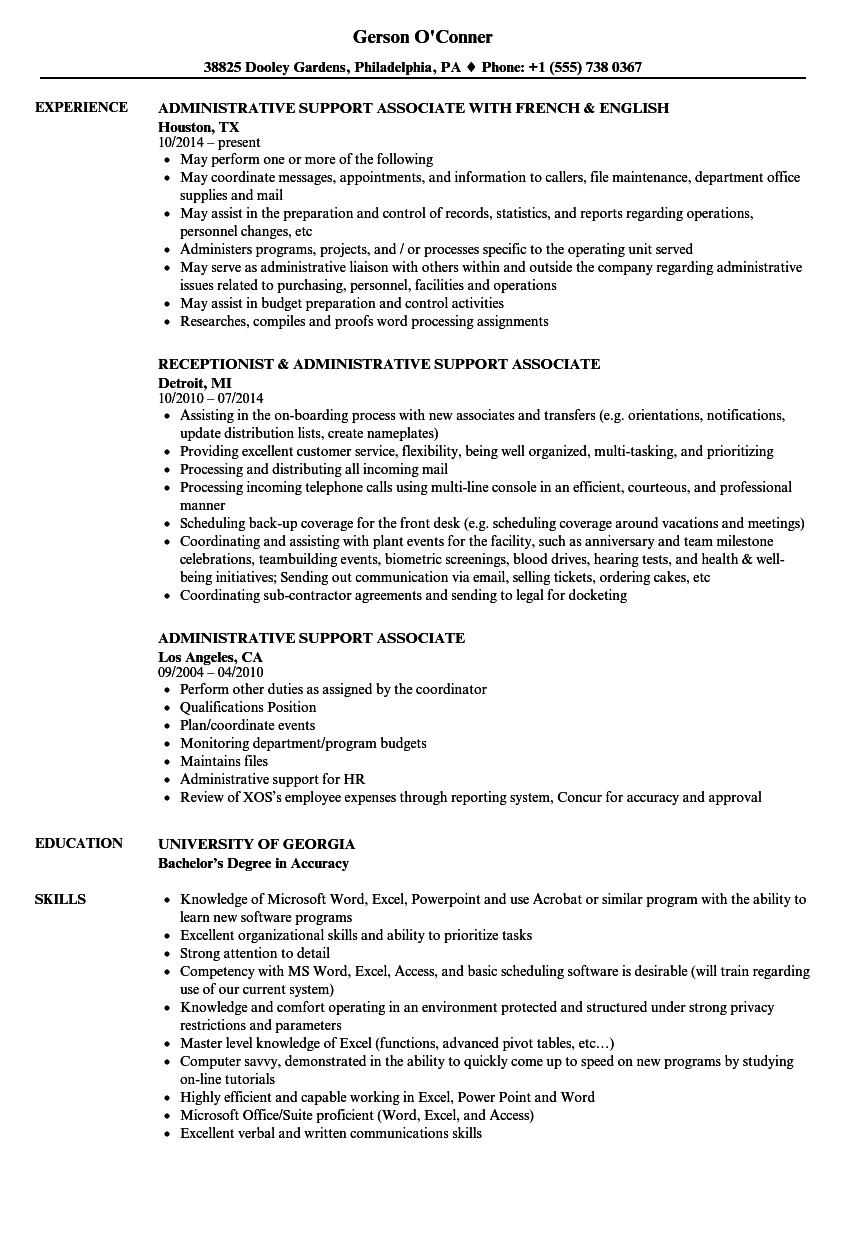 administrative support associate resume samples
