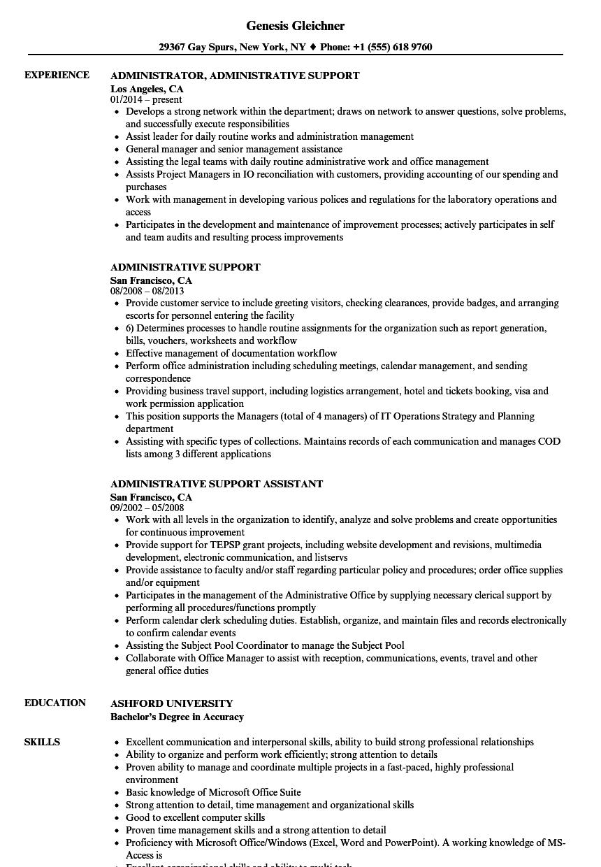 Administrative Support Resume Samples | Velvet Jobs