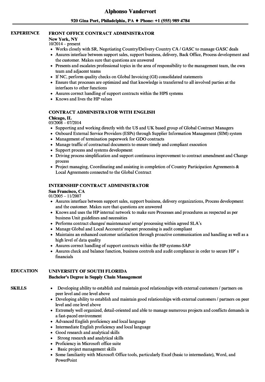 administrator  contract resume samples