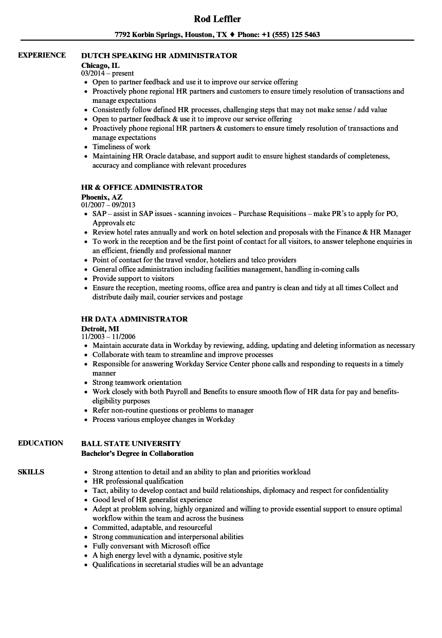 administrator hr resume samples velvet jobs