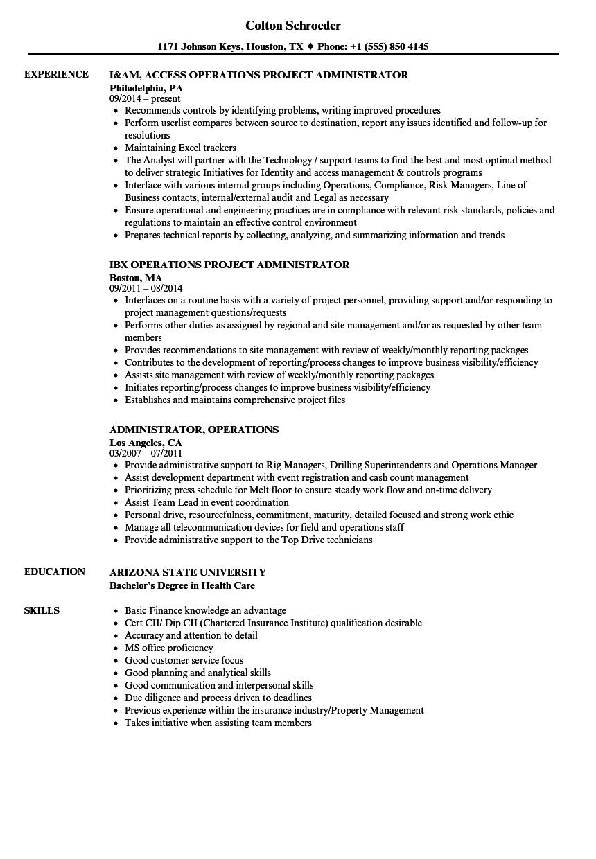 Administrator, Operations Resume Samples | Velvet Jobs