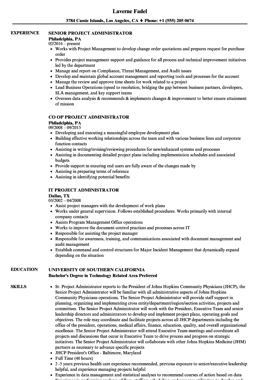 administrator project resume samples