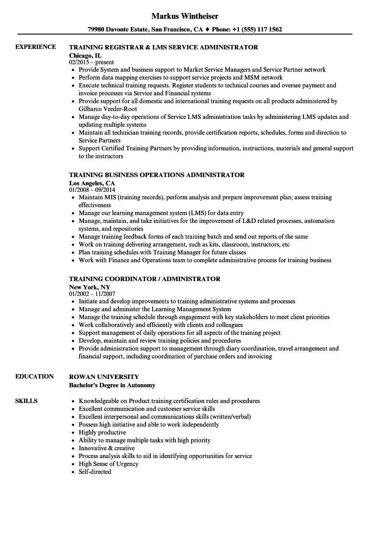 administrator  training resume samples