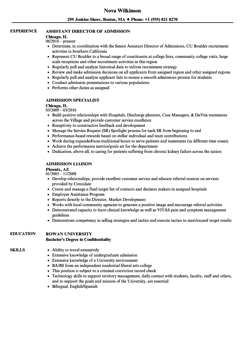 Admission Resume Samples | Velvet Jobs