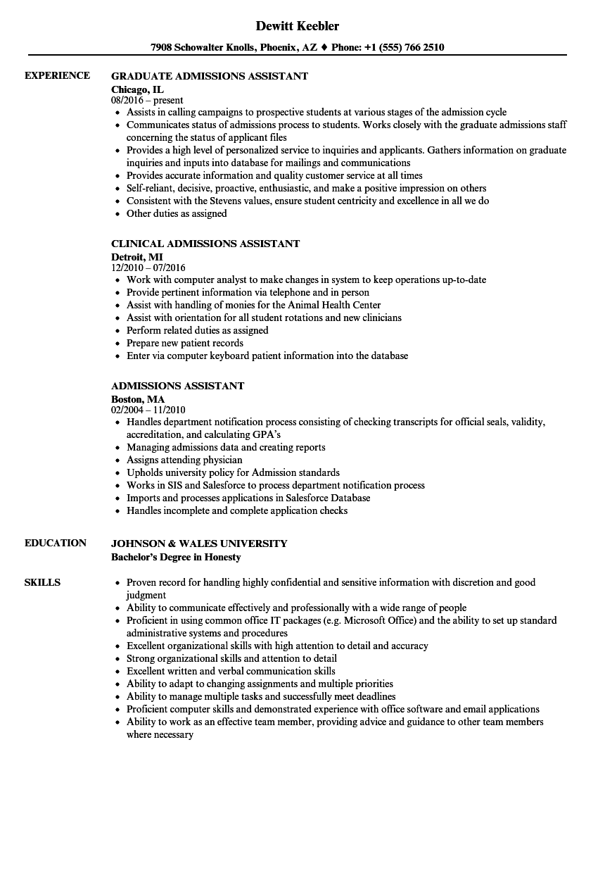 Admissions Assistant Resume Samples | Velvet Jobs