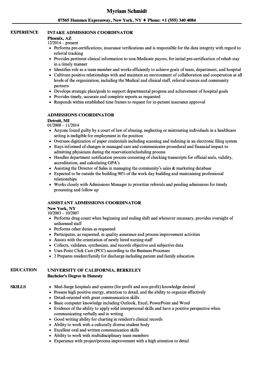 Admissions Coordinator Resume Samples | Velvet Jobs