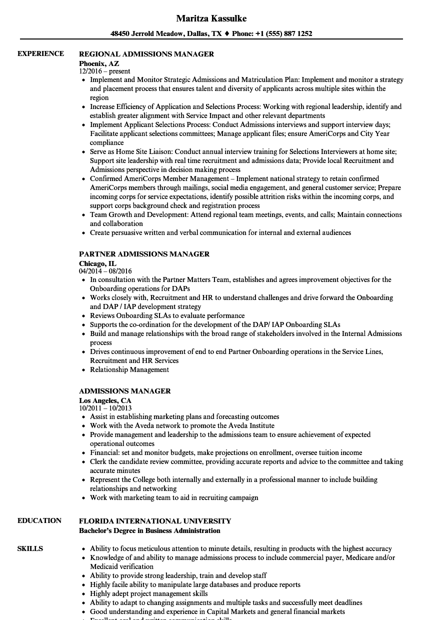 Download Admissions Manager Resume Sample As Image File