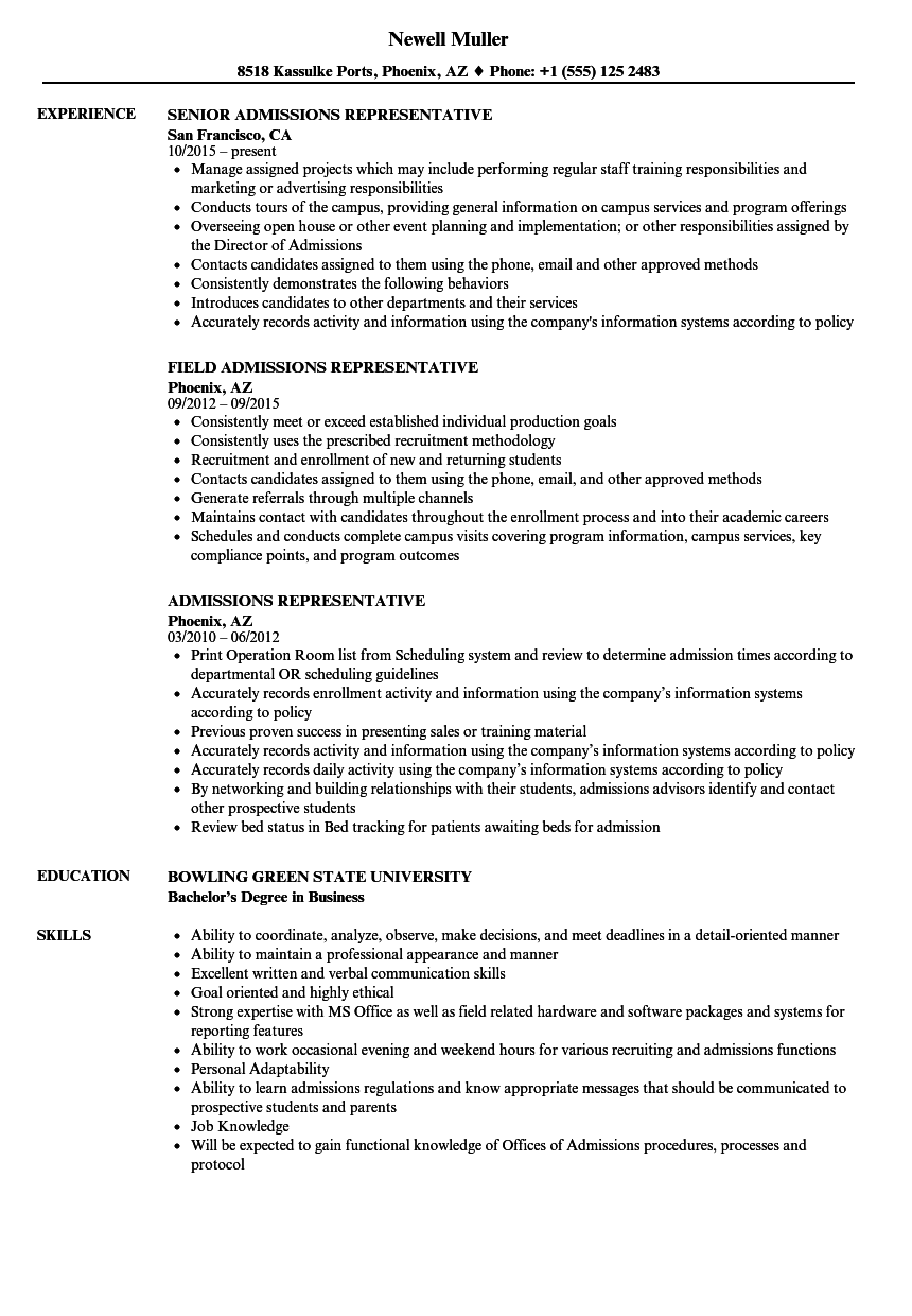 admissions representative resume samples