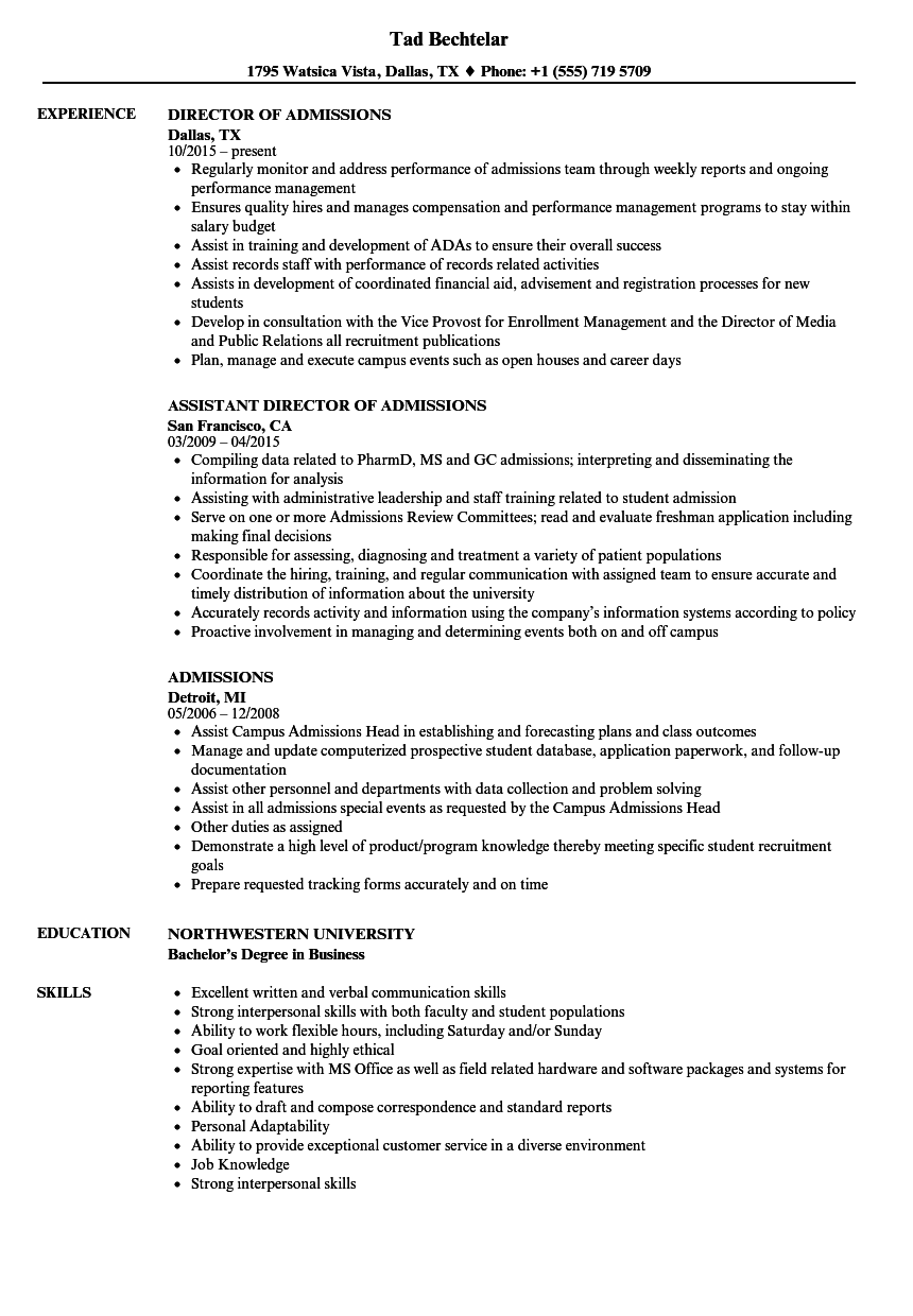 admissions resume samples